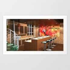 Loft Apartment Kitchen Art Print