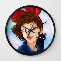 kiki Wall Clocks featuring Kiki & Jiji by Hetty's Art