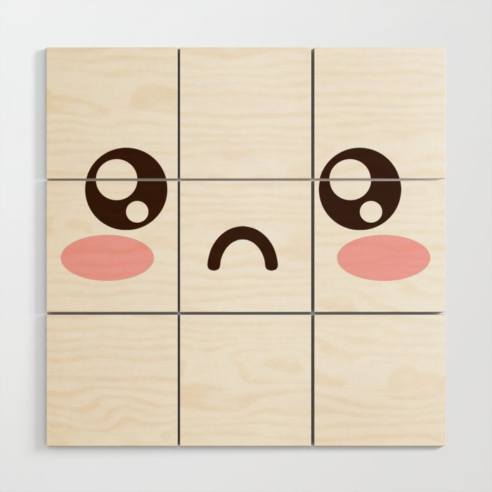 Cute Anime Japanese Emoji Emoticon Sad Face Wood Wall Art By