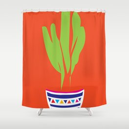 Cactus Mexico Bright Simple Contemporary Pottery Shower Curtain