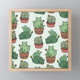 Cacti Cat pattern Framed Mini Art Print