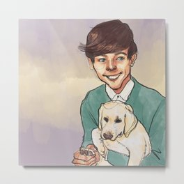 Louis Tomlinson with a Puppy Metal Print