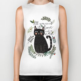 ALL YOU NEED IS LOVE AND A CAT Biker Tank
