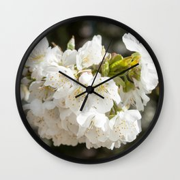 White Flowers Photography Print Wall Clock