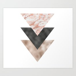 Textured marble and rose gold triangles Art Print