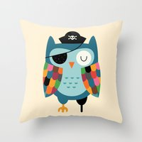 captain Throw Pillows featuring Captain Whooo by Andy Westface
