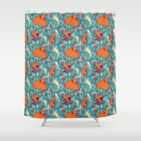 dumbo Shower Curtains featuring Dumbo Octopi & Squid - Blue by Amy Jeanne WPG
