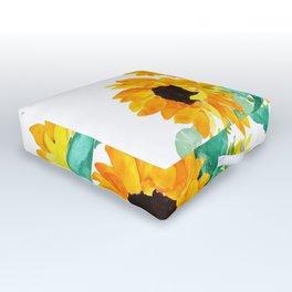 sunflower in green vase watercolor Outdoor Floor Cushion