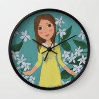jasmine Wall Clocks featuring Jasmine by Jarillo ArtCraft