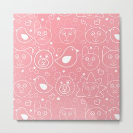 Baby Animals Coral Metal Print
