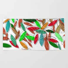 colored leaves Beach Towel