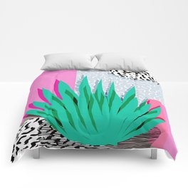 Dag - throwback memphis 1980s neon art pink pastel pattern black and white minimal art design urban Comforters