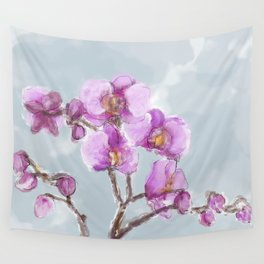 Watercolor Orchids Wall Tapestry