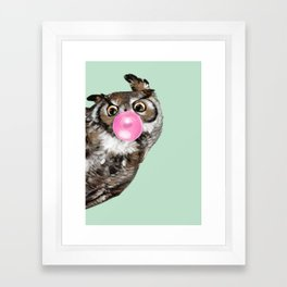 Sneaky Owl Blowing Bubble Gum Framed Art Print