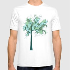 Lonely Tree White Mens Fitted Tee MEDIUM