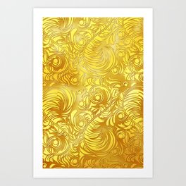 Gold Floral Pattern Art Print