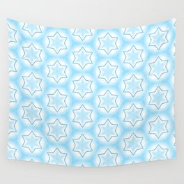 Shiny light blue winter star snowflakes pattern Wall Tapestry