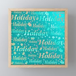 shiny font happy holidays in mint blue Framed Mini Art Print
