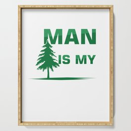 Man In The Tree Climbing Recreational Activity Harness Trees Helmet Caving Gift Serving Tray