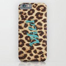 Leopard Print Teal Blue Wild Brown Girly Pattern iPhone 6s Slim Case