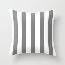 Gray (HTML/CSS gray) - solid color - white vertical lines pattern Throw Pillow