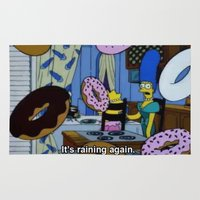 simpsons Area & Throw Rugs featuring Simpsons - Doughnuts by Katieb1013