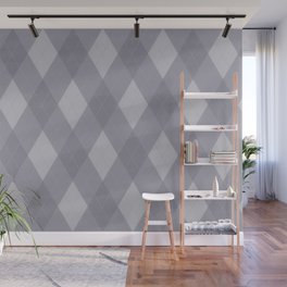 Pantone Lilac Gray Argyle Plaid Diamond Pattern Wall Mural