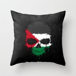 Flag of Palestine on a Chaotic Splatter Skull Throw Pillow