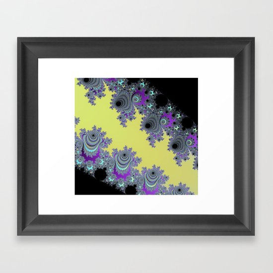Asymmetrical Fractal in Yellow, Black and Purple Framed Art Print