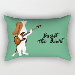 Basset the Bassist (Green) Rectangular Pillow