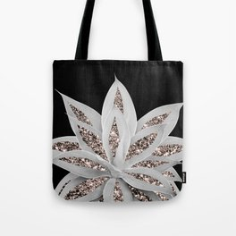Gray Agave with Rose Gold Glitter #2 #shiny #tropical #decor #art #society6 Tote Bag
