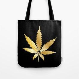 Gold Cannabis Leaf Tote Bag