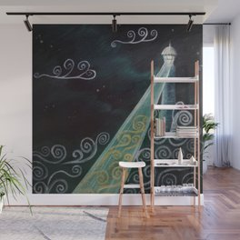 Starry Night Lighthouse Wall Mural