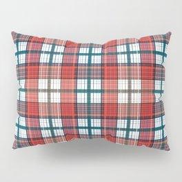 Colorful red grey plaid . Pillow Sham