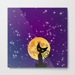 Cat in starry night Metal Print