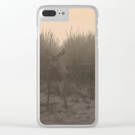 DEER AT SUNSET AT THE BEACH Clear iPhone Case