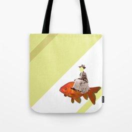Sidesaddle on a goldfish Tote Bag