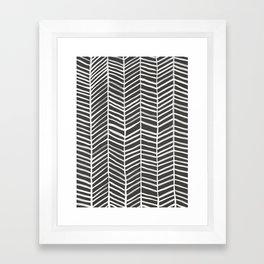 Herringbone – Black & White Framed Art Print