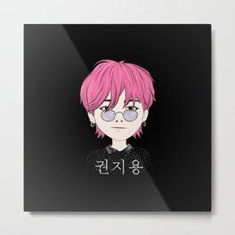 G-Dragon Cartoon Black Metal Print
