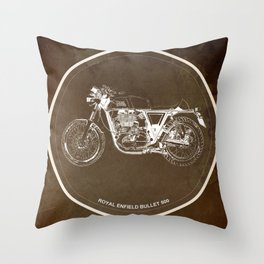 Royal Enfield motorcycle original circle art print and motorcycle quote Throw Pillow