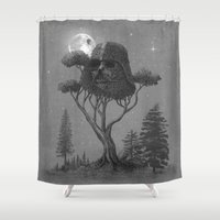 dark Shower Curtains featuring Dark Side of The Forest  by Terry Fan