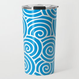 Chinese Spirals Pattern | Abstract Waves | Swirl Patterns | Circles and Swirls | Turquoise and White Travel Mug