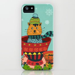 Christmas Kitty in a Teacup iPhone Case