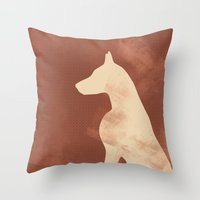 doberman Throw Pillows featuring Doberman Dog by ialbert