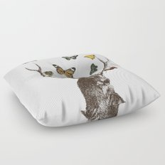 The Stag and Butterflies Floor Pillow