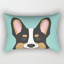 Tricolored Corgi cute corgi dog portrait custom dog art pet friendly dog head cell case Rectangular Pillow