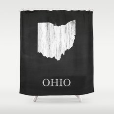 Ohio State Map Chalk Drawing Shower Curtain