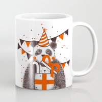 happy birthday Mugs featuring Happy Birthday by Tobe Fonseca