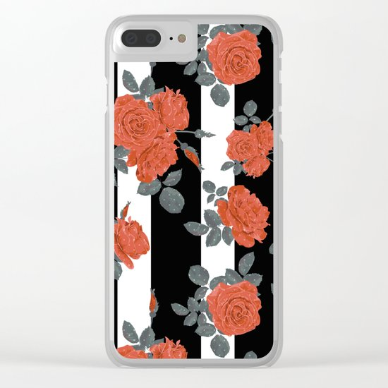 Orange roses on a striped background. Clear iPhone Case
