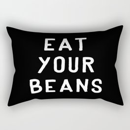 Eat Your Beans - White on Black Rectangular Pillow